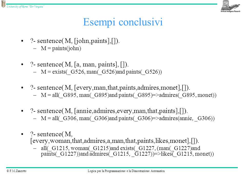 Esempi conclusivi - sentence( M, [john,paints],[]).